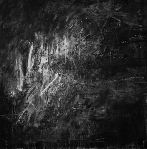 AJATTELEN ITSEÄNI JATKUVASTI TULEVAISUUDESSA MENNEESSÄMUODOSSA - I THINK ABOUT MYSELF CONSTANTLY IN THE FUTURE IN THE PAST TENSE Liitutaulu, puu, liitu Black board, wood, chalk 150 x 150cm 2014