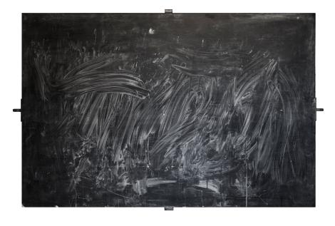 ILMAN ALKUA ILMAN LOPPUA  - WITHOUT BEGINNING WITHOUT AN END Liitutaulu, puu, rauta, liitu Black board, wood, iron, chalk 100 x 150cm 2014
