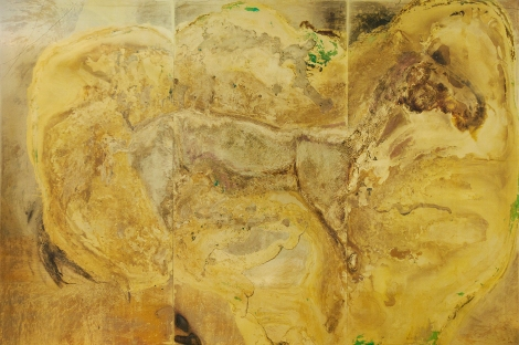 THE BATTLE FROM WHICH NO GAIN IS EXPECTED Messinki, kuolleen eläimen jäänteet Brass, original substances of a dead animal 200 x 300cm  2015