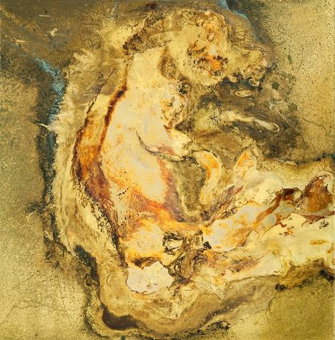 LIFE WITHIN Messinki, kuolleen eläimen jäänteet Brass, original substances of a dead animal 40,5 x 40cm  2014 (original photo Jussi Tiainen)