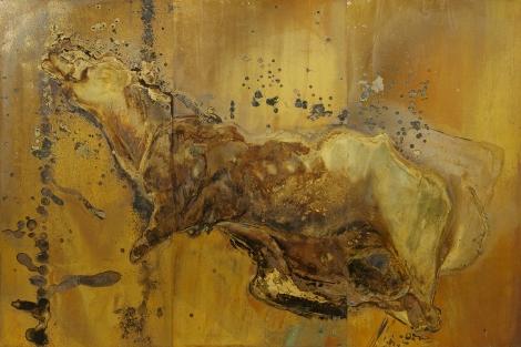 ELEGIA Messinki, kuolleen eläimen jäänteet Brass, original substances of a dead animal 200 x 300cm 2016