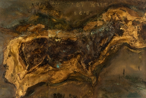 HAPPINESS AND OTHER SHIT Messinki, kuolleen eläimen jäänteet Brass, original substances of a dead animal 200 x 300cm 2016